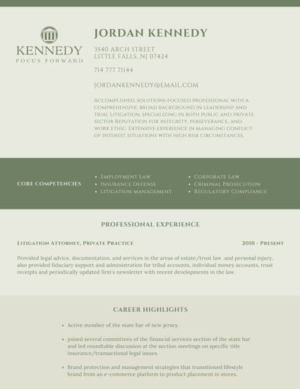 Classic Legal Attorney Resume - Templates by Canva