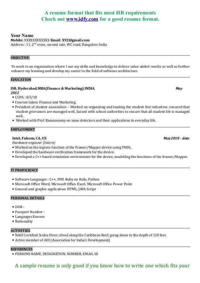 3 a resume format. mba resumes for freshers in marketing sample ...
