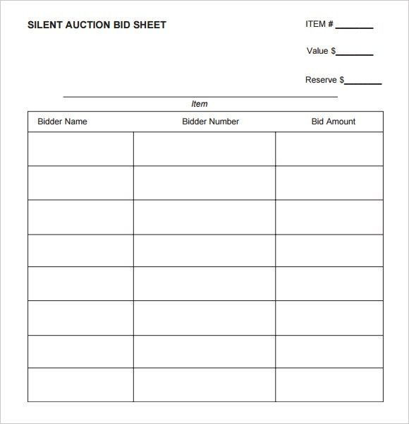 silent auction bid sheet printable | Silent Auction | Pinterest ...