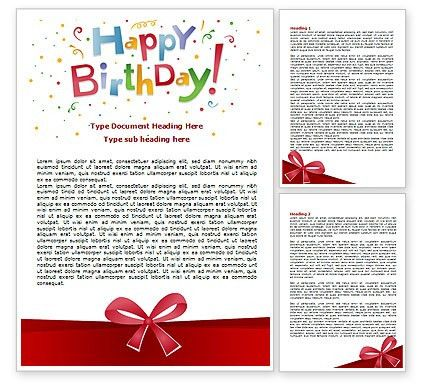 Happy Birthday Bow Word Template 07660 | PoweredTemplate.com