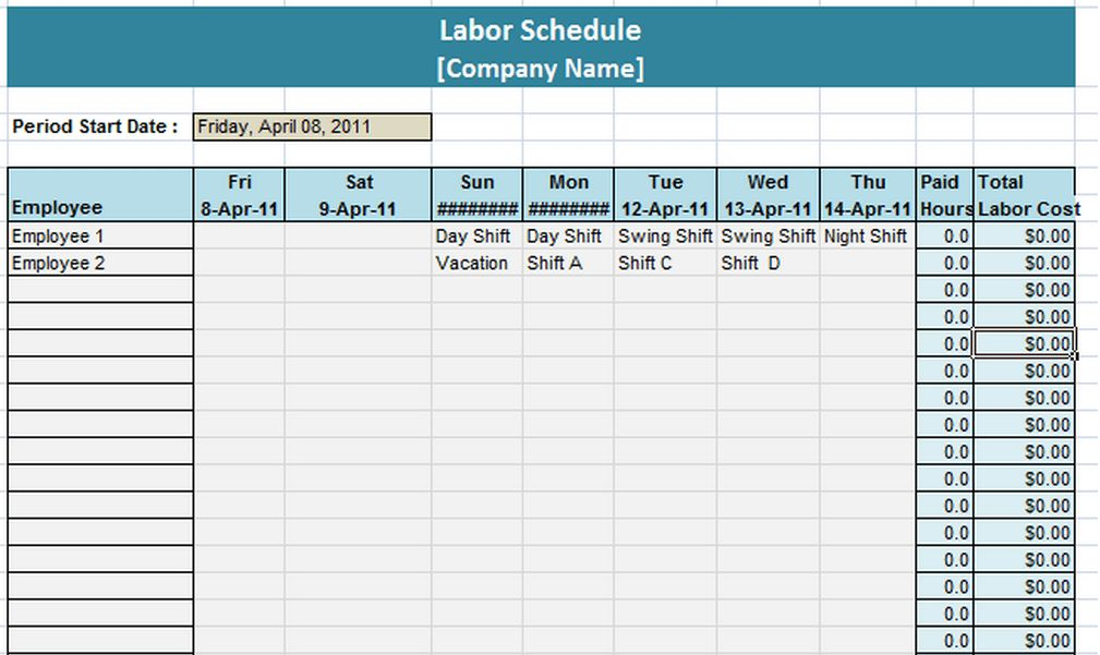 Sample Weekly Schedule | Schedule Templates