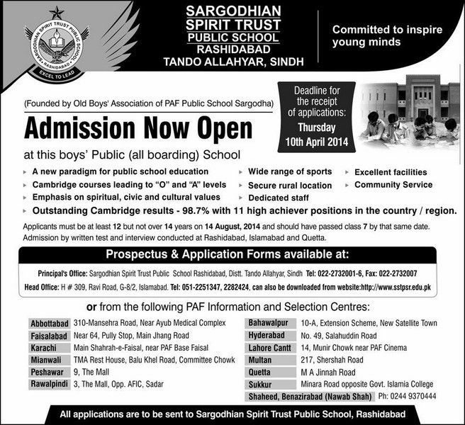 SARGODHIAN SPIRIT TRUST PUBLIC SCHOOL Admission Now Open | awampk ...
