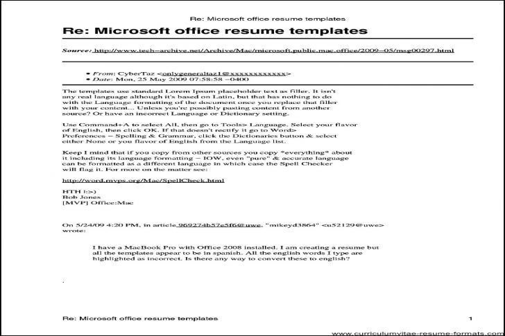 Microsoft Office Resume Templates 2010 60 | Samples.csat.co
