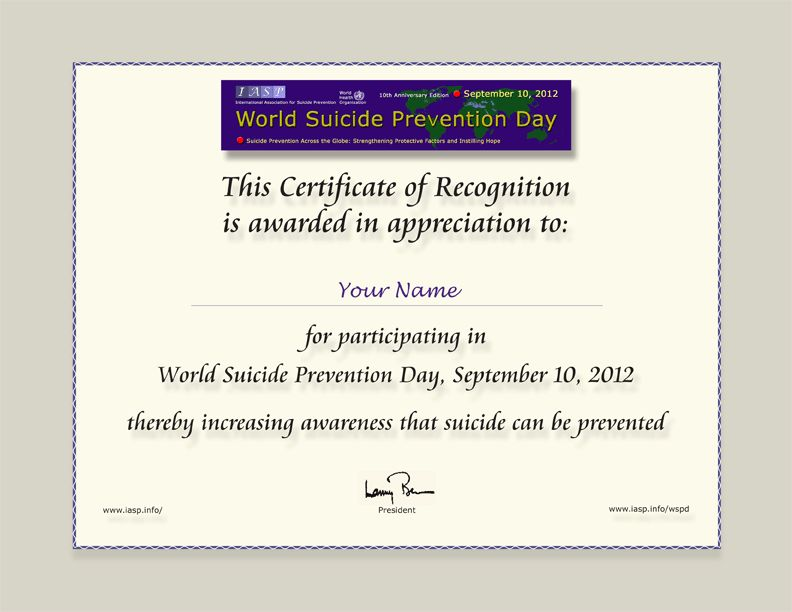World Suicide Prevention Day 2012 - Certificate of Appreciation
