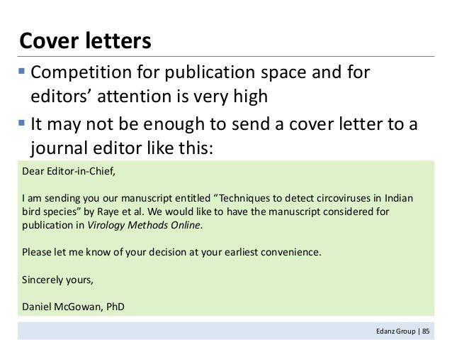 Publication Cover Letter] Cover Letter Scientific Publication