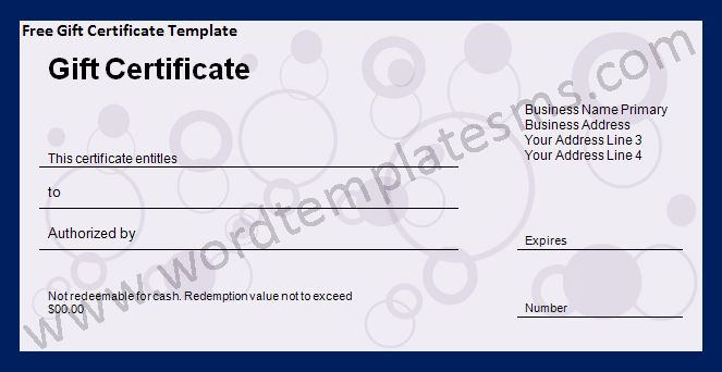 Free Gift Certificate Template Download Page | Word Excel Formats