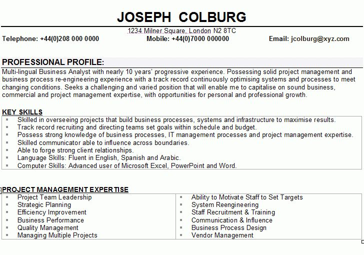 Business Analyst CV Sample