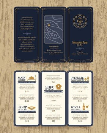 Vintage Restaurant Menu Design Pamphlet Vector Template In A4 ...