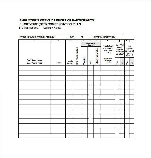 Employee Status Report Template | Enwurf.csat.co