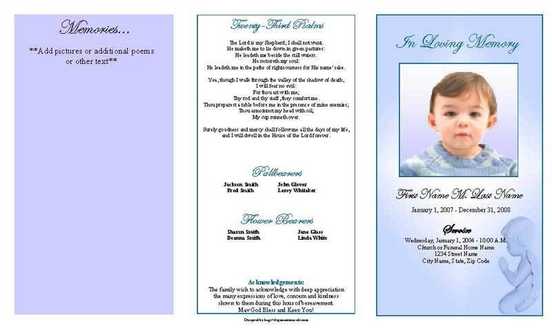 Funeral Program Template | Trifold Blue Angel