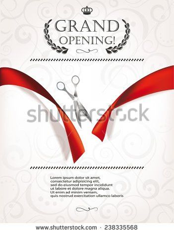 Grand Opening Invitation Card Silver Scissors Stock Vector ...