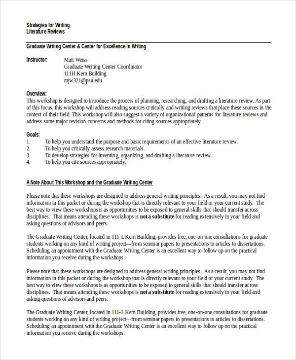 10+ Literature Review Examples | Free & Premium Templates