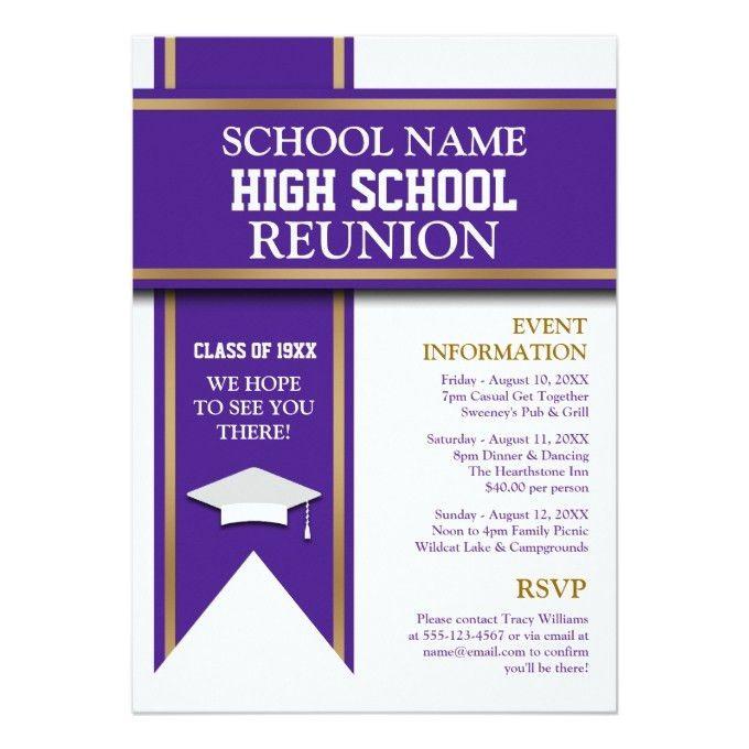 School Colors Banner Custom Class Reunion 5x7 Paper Invitation ...