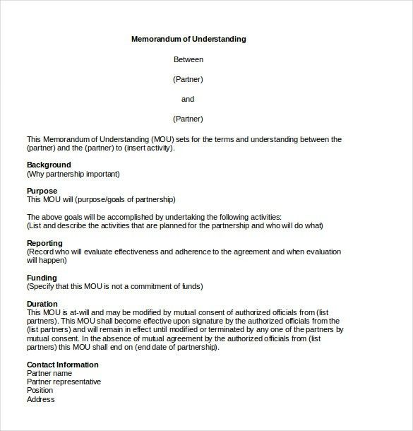 Memorandum of Agreement Template – 10+ Free Word, PDF Document ...