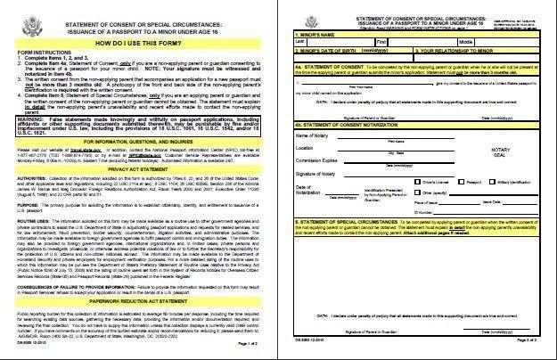 Passport Form DS-3053 Parental Consent Form @ PassportsOnline.ORG