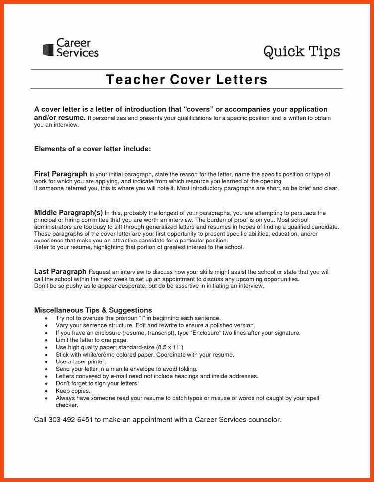 cover letter examples for teachers | program format