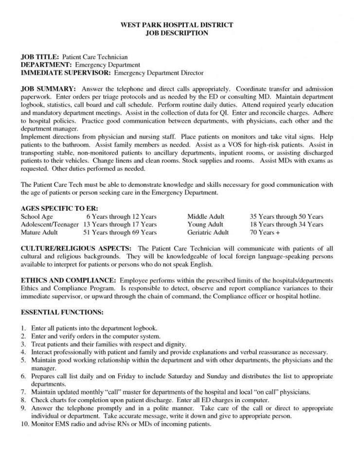 Patient Care Technician Job Description For Resume | Template Idea
