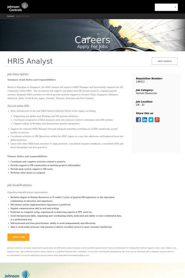 HRIS Analyst job at Johnson Controls | Tapwage Job Search