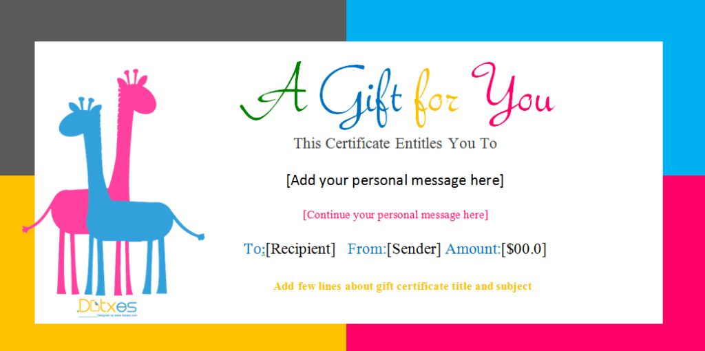 Birthday Gift Certificate Templates (For Girls and Boys)