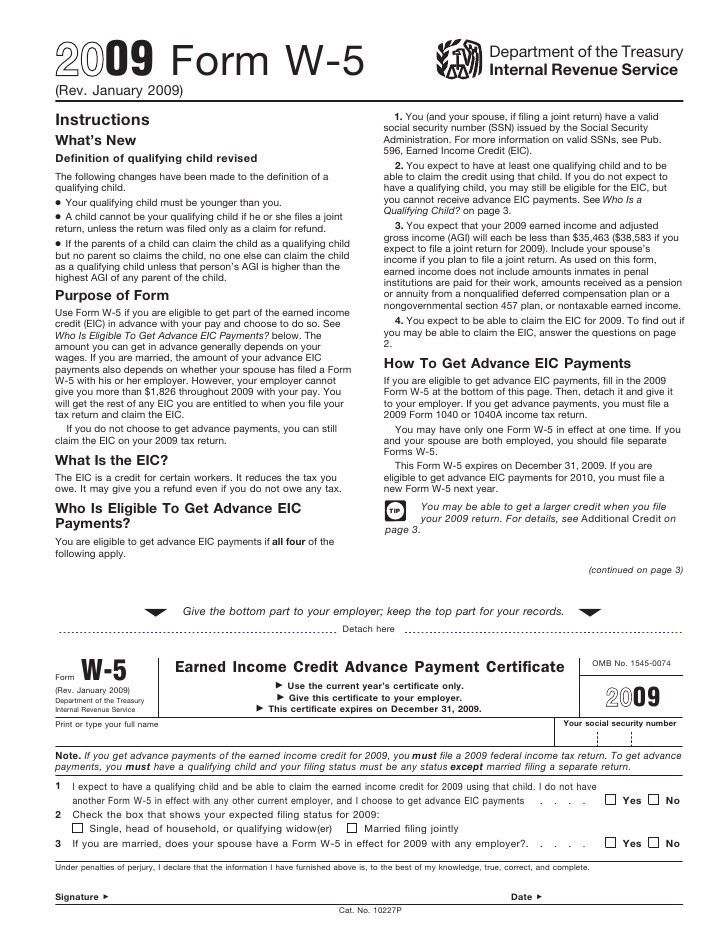 Form W-5 Earned Income Credit Advance Payment Certificate