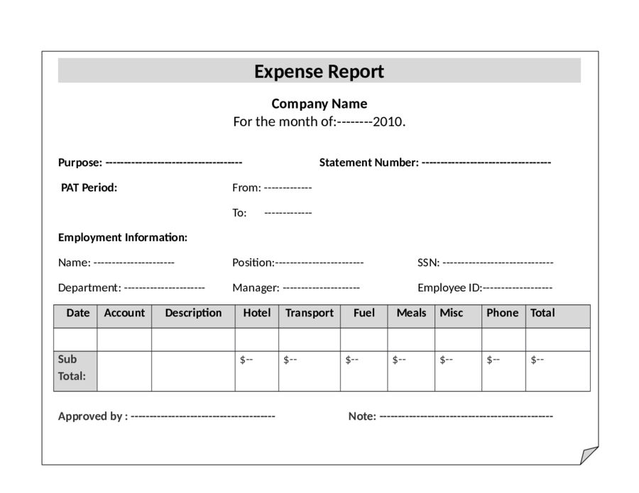 sample of expense report