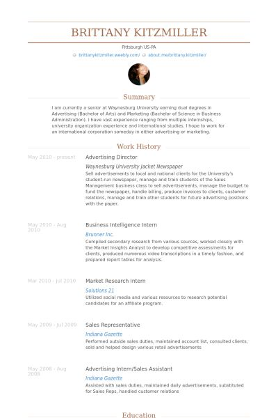 Advertising Director Resume samples - VisualCV resume samples database