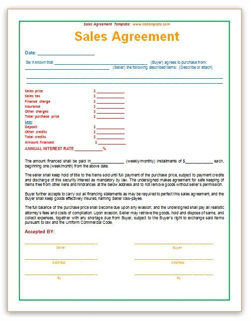 Sales Agreement Template | Templates Platform