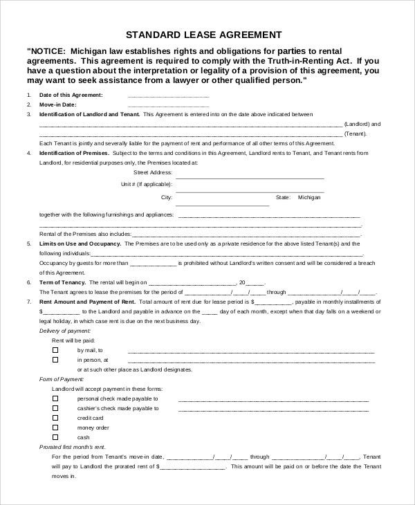 Free Lease Agreement Sample - 8+ Examples in Word, PDF