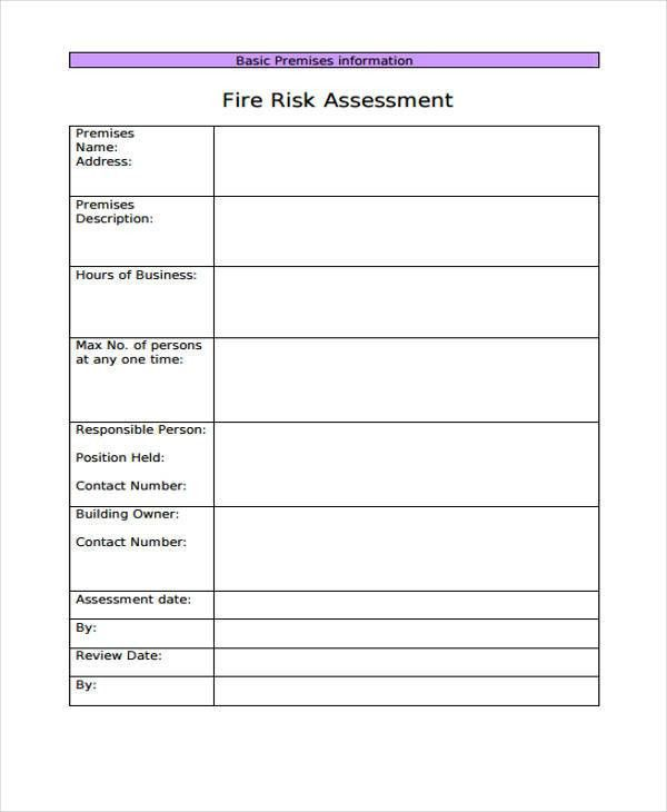 6+ Fire Risk Assessment Templates - Free Samples, Examples Format ...