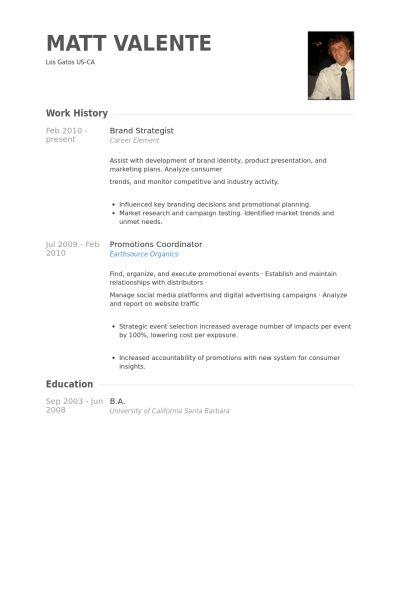 Brand Strategist Resume samples - VisualCV resume samples database