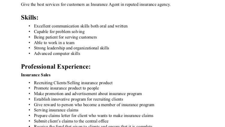 insurance agent resume examples objective skills and professional ...