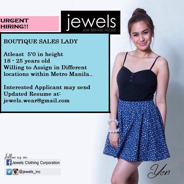 HIRING FOR BOUTIQUE SALES STAFF & CASHIER