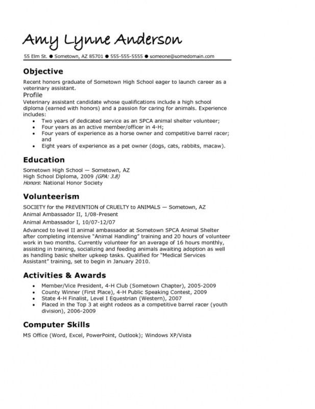 How To Write A Resume High School | Samples Of Resumes