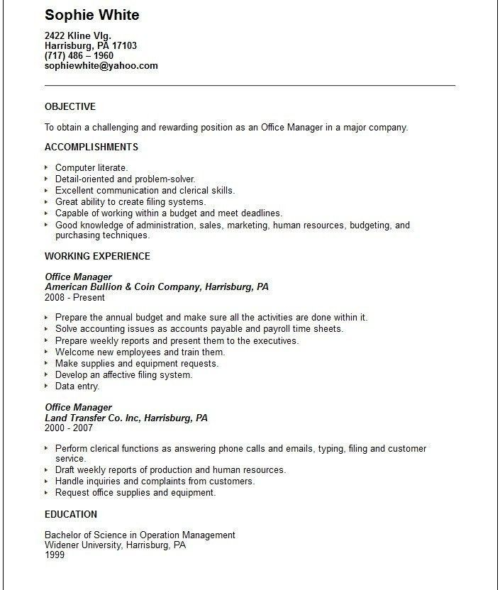 Payroll Resume Objective Examples. download objective for resumes ...