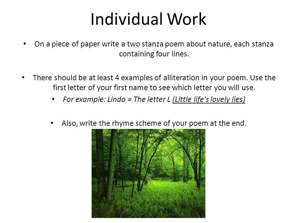 Review from Previous Class Stanza Definition: A series of lines ...