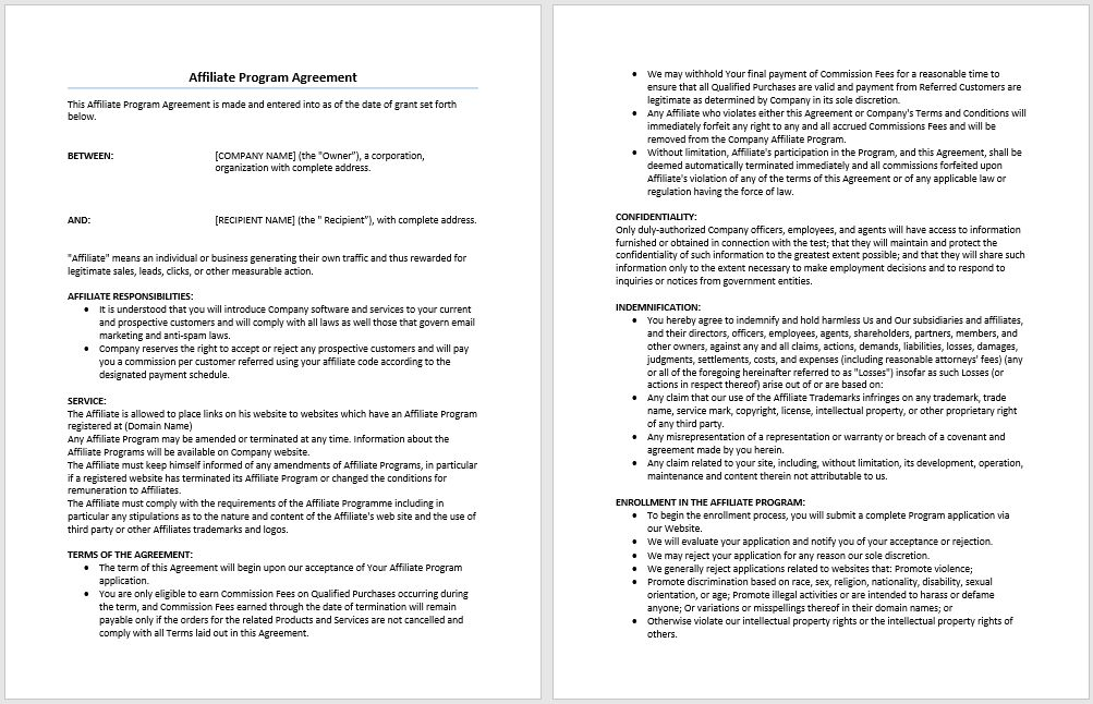 Affiliate Program Agreement Template | Microsoft Word Templates