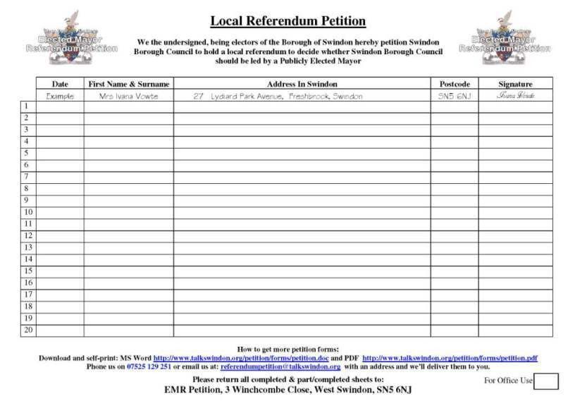 petition signature page template