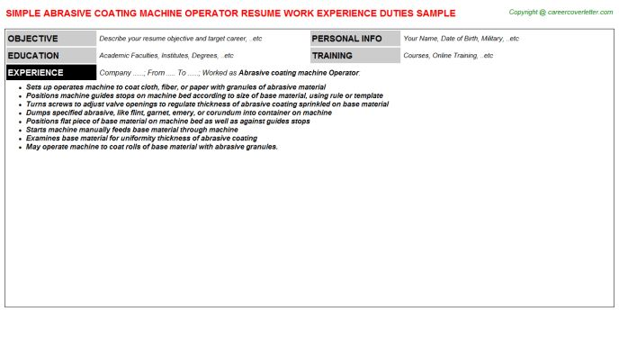 job description job categories machine operator. collection of ...