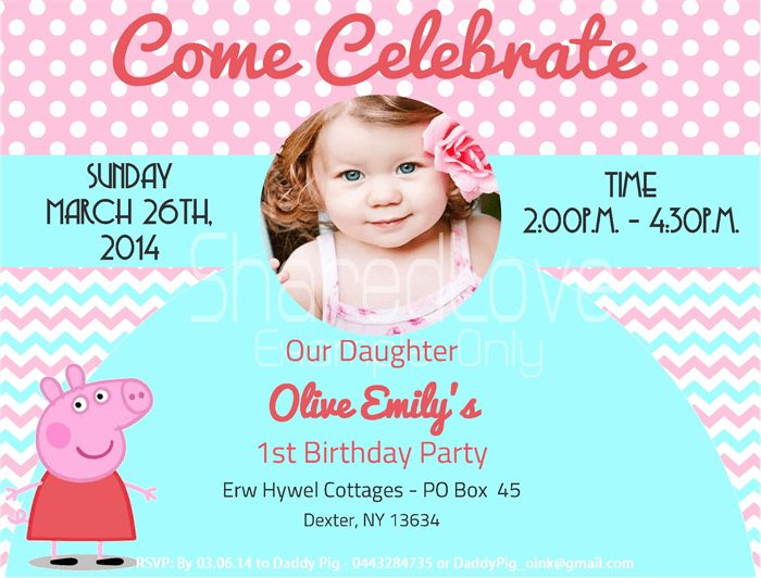 Peppa Pig Birthday Invitations Templates