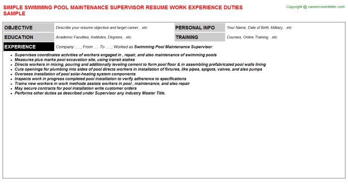 Swimming Pool Maintenance Supervisor Job Title Docs