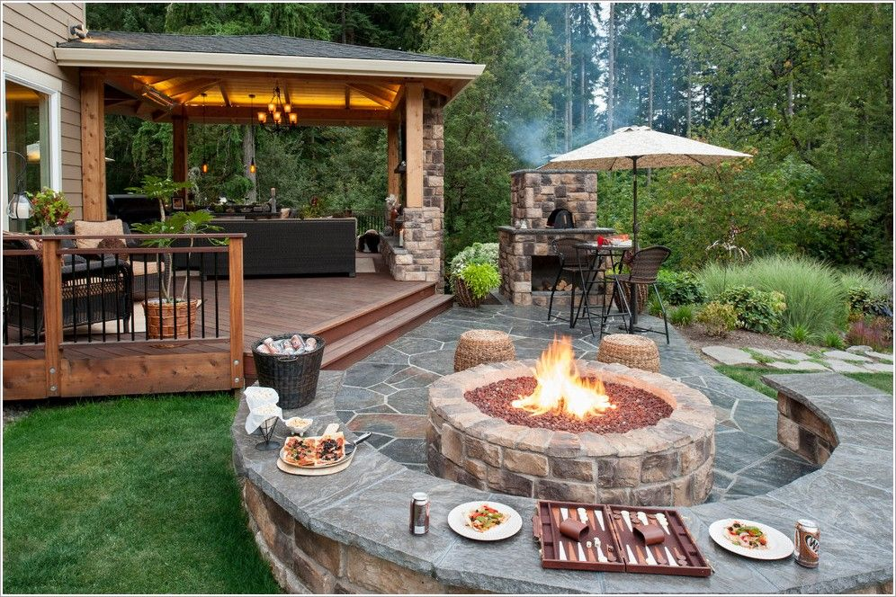 Patio Traditional Portland backyard Concrete Paver Hardscape Covered Wood Structure gazebo landscape lighting outdoor dining outdoor fireplace outdoor lighting outdoor living space pavers pendant light potted plants sitt id-1411 - Gorgeous Home Decor | backyard covered decks | Patio Traditional Portland backyard Concrete Paver Hardscape Covered ...