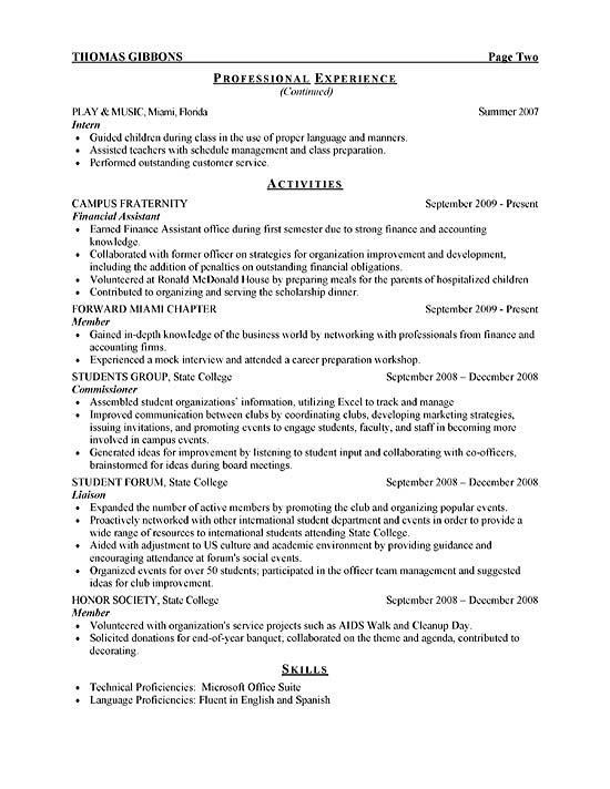 Sample College Student Resume For Internship | Experience Resumes