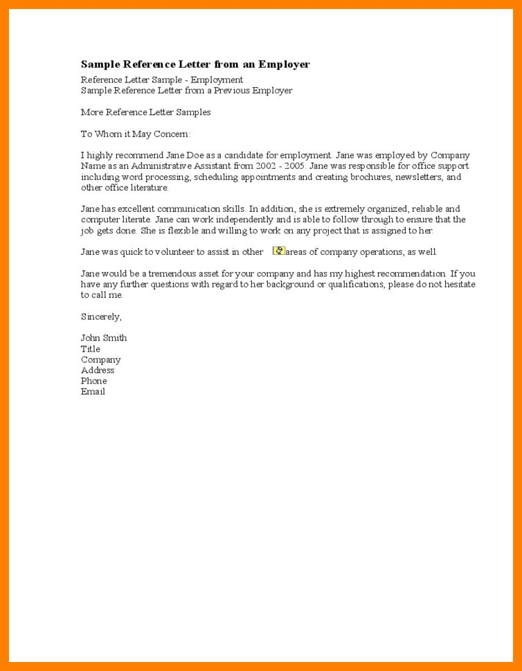 Reference Letter Samples From Employer.sample Recommendation ...