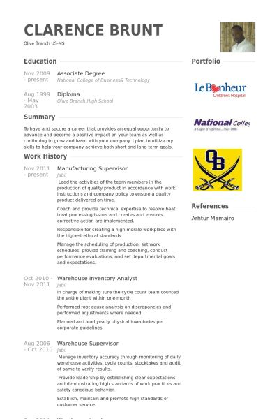 Manufacturing Supervisor Resume samples - VisualCV resume samples ...