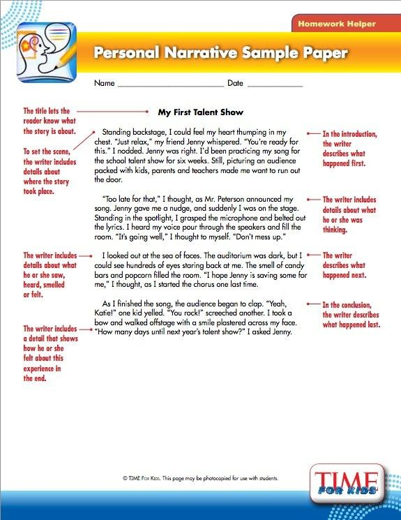 This personal narrative example is provided by Time for Kids. (W ...