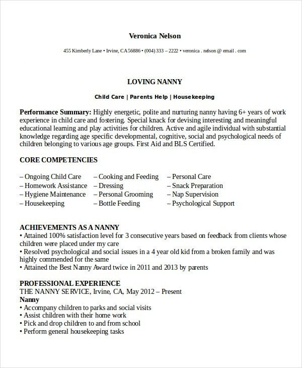 nanny resume template 5 free word pdf document download free - Nanny Resumes Samples