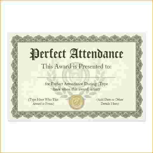 5+ perfect attendance certificate   Outline Templates