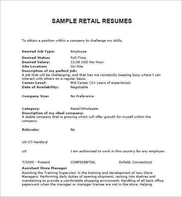 Retail Resumes – 7+ Free Samples , Examples , Format