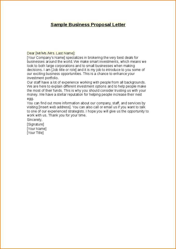 5+ sample business proposal letter | teknoswitch