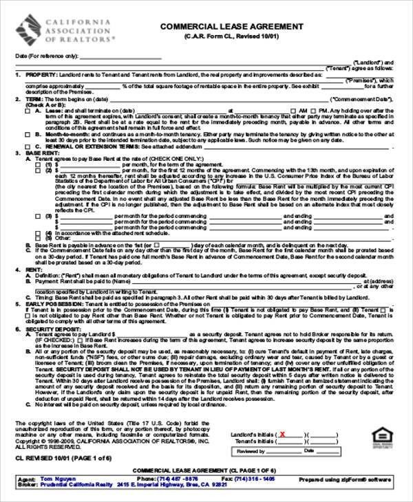 10+ Commercial Lease Agreement Sample - Free Sample, Example ...